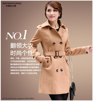 Wool sweater Wool coat overcoat 2014 woolen coat  women winter wool coat belt slim double breasted medium-long woolen outerwear