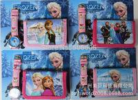Free&Drop Shipping 15pcs New Frozen cartoon Kids Childrens Girls Quartz Casual Wrist Watches with wallet ,purse watch