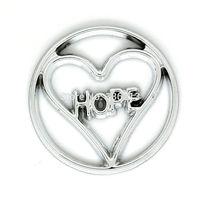 Floating Locket Window Plates Fit 30mm Locket Jewelry Pendants, Bright Silver Tone Hope in Heart