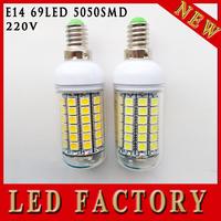 10pcs/lot 2014 New arrival 69leds SMD 5050 E14 LED bulb lamp ,Warm white/white,15W 220V-240V 5050SMD LED Corn Bulb Light