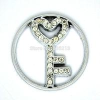 Floating Locket Window Plates Fit 30mm Locket Jewelry Pendants, Crystals Paved Bright Silver Tone Key