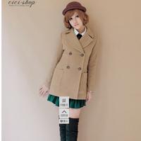 2013 preppy style double breasted woolen outerwear medium-long woolen overcoat 9008 coat