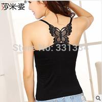 Back cutout 2014 autumn Cotton slim sexy  women's basic cropped T-shirt strapless lace spaghetti strap y vest basic shirt Tops