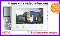 7 inch  4 wire villa Video Door Phone Intercom System420TVL outdoor camera  Photo video recording Built-in power supply
