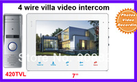 "7 inch  4 wire villa Video Door Phone Intercom System 7"" Doorbell  Photo video recording 420TVl outdoor"