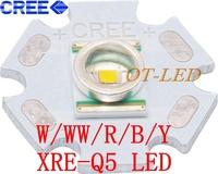 Freeshipping! 10PCS CREE XRE xr-e Q5 LED Emitter XLamp Cool White Warm White Red Green Blue Yellow  LED with 20MM heatsink