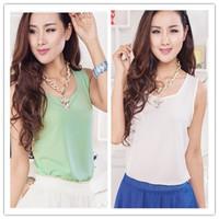Free shipping New Fashion Women Girt Casual Chiffon Vest Top Tank Sleeveless Shirt Blouse