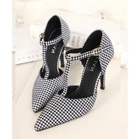 2014 famous brand sexy women pointed sandels shoe high heel Genuine Leather single shoes T-strap women sandal pumps
