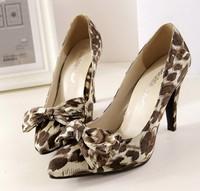 2014 Korean style leopard sandels simple fashion sexy high-heeled leather shoe for women pumps sandals bowtie decoration