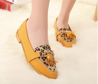 Free shipping 2014 Europe and the comfortable soft bottom flat shoes cheap leopard flat single shoes leisure shoes
