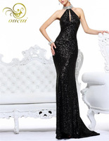 Real Photos Sequin Fabric vestido de festa longo  Black Color Halter Style Shining crystal Sexy Backless Cocktail Dress OL102368