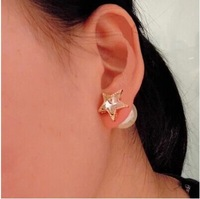 D drill five-pointed star of big pearl double faced earrings stud earring