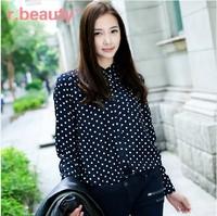 S-2XL New 2014 Hot Sell Fashion Women Chiffon Shirt Blouse Retro Dot Printed Sexy Slim Stand Collar Pocket Shirt Casual Tops