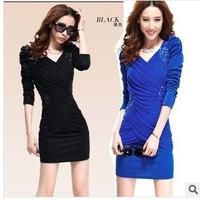 2014 spring fashion women's elegant plus size slim V-neck  sexy one-piece dress S-XXL free shipping