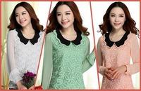 Hollow out Chiffon shirt female long-sleeve peter pan collar patchwork lace basic shirt female long-sleeve