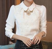 Lace shirt female long-sleeve 2014 autumn women fashion chiffon top basic shirt