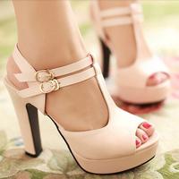 2014 open toe t strap thick heel platform sandals shoes summer ladies fashion ultra high heels sandals pumps for women plus size