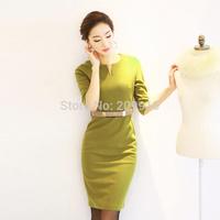 2014 New Fashion Spring and Autumn Winter plus size-4XL Office Ol dresses Elegant  Slim Half sleeve slim Hip  career  dress
