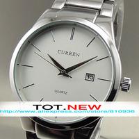 CURREN Wristwatches  2014 NEW FASHION QUARTZ WATCHES HOURS CLOCK DATE DAY WATER SILVER HAND SPORT MILITARY MEN STEEL WRIST WATCH
