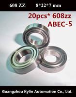 Best Price! 20 pcs 608ZZ ABEC-5 Deep groove ball bearing,high-carbon bearing steel  8X22X7 mm free shipping