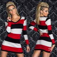 2015 Autumn New Sexy & Club Women Lady Striped Long Sleeve Clubwear Bodycon Sheath Dress Vestidos, 4 Color, M, XL, XXL