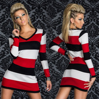 New Arrived 2014 Autumn Casual Women Striped Long Sleeve V-Neck Sheath Bodycon Mini Dress Vestidos, 4 Color, M, XL, XXL