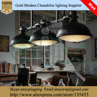 Rh Loft  3 Round Black Iron Lamps American Style Bar Pendant Light