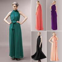 2014 Summer New Bohemian Women Chiffon Off The Shoulder Ruffled Collar Ultra Long Beach Dress with Sashes, 8 Color, Free Size