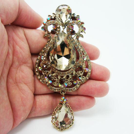 Fashion 3.94' Vase Teardrop Rhinestone Brooch Pin Topazine Crystal(China (Mainland))