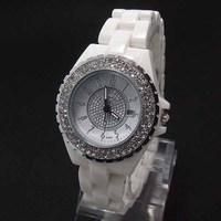 Wholesale 2 colors Fashion Simulate Ceramics Crystal Watch Women Ladies Dress Quartz Wristwatches With Calendar K464