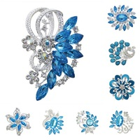 brooch pins for wedding women new 2014 blue/Purple silver  rhinestone brooches