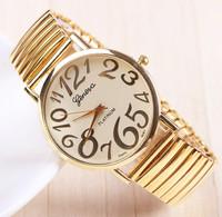 New Arrival Fashion Golden GENEVA Watch For Ladies Women Dress Watch Quartz Watches 1piece/lot