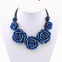 Chunky Long Necklace  Rose Shaped Resin Jewelry Bib Jewelry Statement Chain