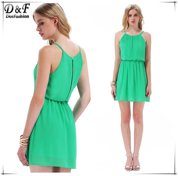 Hot Sale Fashion Vestido Curto Festa Desigual Women European Style Green Halter Neck Off the Shoulder Sexy Back Split Mini Dress(China (Mainland))
