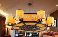 Modern chinese style lamp sheepskin pendant light project light living room lights  antique wooden lifter dual lamp