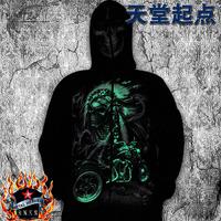Male zipper sweatshirt mask hoodie luminous skull motorcycle pattern