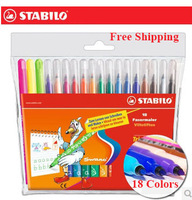 18colors Stabilo pen 378 - 18 watercolor pen doodle pen child drawing pen water wash (pack of 18 pcs) free shipping