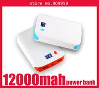 LED Screen dual usb1A/2A/5V Flashlights power bank 12000mah large capacity power bank 12000mah