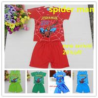 new 2014 spider-man .boy t shirts clothing set.Kids spider super man shirts short pants set.sports children short sleeve t shirt