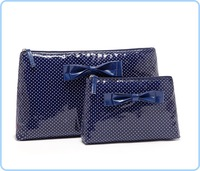 Free shipping(2pcs/set)  Primark brand blue dot material with nice bow cosmetic bag, women day clutches handbag #68884