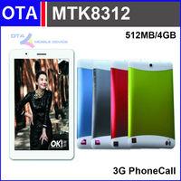 7 inch MTK8312 phone call tablet qual core CPU 3G SIM 512MB RAM 4GB storage Dual SIM Dual Camera GPS Bluetooth IPS FM radio