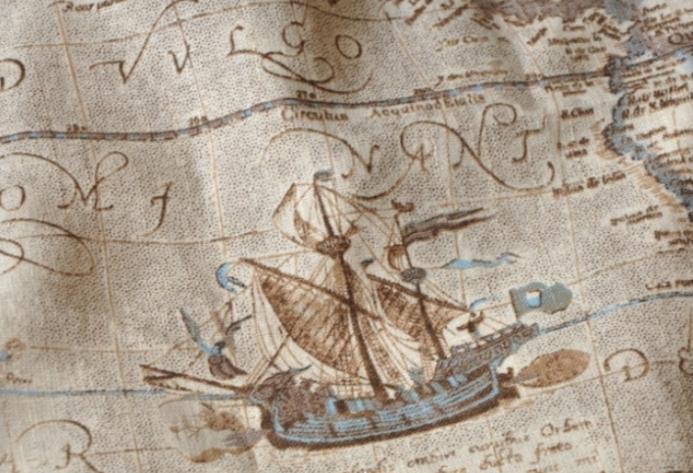 Nautical World Map Wallpaper Mediterranean Style Nautical