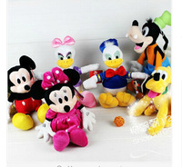 Free shipping 6pcs/set Mickey and Minnie Mouse,Donald duck and daisy,GOOFy dog,Pluto dog,Mickey&Minnie plush toys set