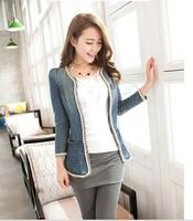 Jorase spring denim outerwear medium-long women's slim long-sleeve denim top denim shirt