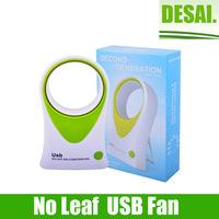 No Leaf USB mini fan Air Conditioner Hold USB Desktop Cooling Blue Mini Portable ABS Bladeless Fan Refrigeration