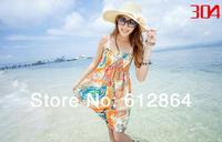 Free shipping, Chiffon long dresses, beach Bohemia style dress,printing flower, spaghetti strap