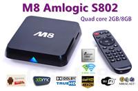Quad Core Android TV Box M8  Amlogic S802 2G/8G Mali450 GPU 4K HDMI XBMC Bluetooth 2.4G/5G Dual WiFi DOLBY TrueHD DTS HD Mini PC