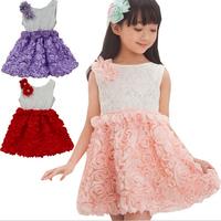 Momo --2014 new summer rosette flower girls dress, lace sleeveless dress for girl, 4pcs/lot free shipping