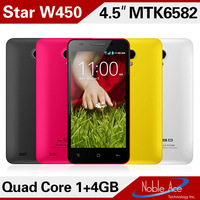 "New 2014 Star W450 MTK6582 Quad core 4.5"" IPS 854X480 pixels android 4.2 phone 8MP 3G GPS phones 1G RAM 4G ROM Free Shipping"