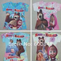 "girls tshirt  2014 New "" Masha and bear ""short sleeve 3D cartoon t shirts kids clothes 2~6Age Children clothing"